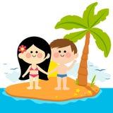 Boy and girl on an island Stock Photo