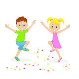 Boy and girl joyfully bouncing, Royalty Free Stock Image