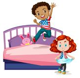 Boy and girl jumping on bed. Illustration vector illustration