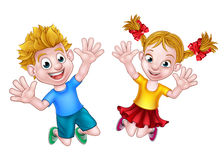 Boy and Girl Jumping Cartoon Stock Photo