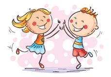Boy and girl jumping with joy, vector. Boy and girl jumping with joy to celebrate some victory or success, cartoon vector drawing stock illustration