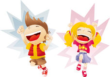 Boy and girl jumping laughing happy children Royalty Free Stock Photography