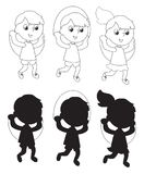 Children jumping the rope coloring vector silhouettes Stock Photo