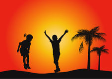 Silhouettes of children jumping. Boy and girl jumping in the sunset stock illustration
