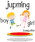 Boy and girl jumping on trampoline Royalty Free Stock Images