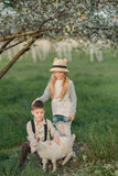 Boy and girl with the kid Stock Photo