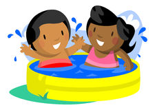 Boy and Girl in Kiddie Pool Royalty Free Stock Photos