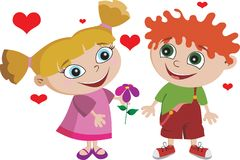 Boy Girl Kids Kid In Love Adorable Stock Images