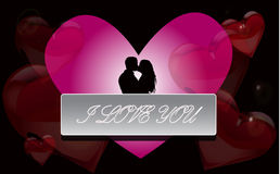 Boy and girl kissing on the background of hearts. Stock Image