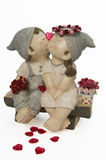 Boy and girl kissing with red heart and roses Royalty Free Stock Photo