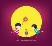 Boy and girl with lantern. Happy mid autumn festival Royalty Free Stock Images