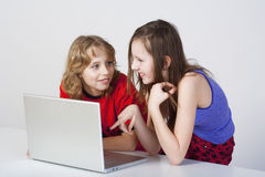 Boy and girl with laptop Royalty Free Stock Photo