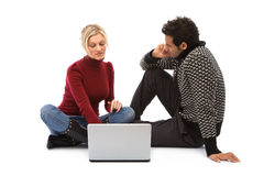 Boy and girl with laptop Stock Photography