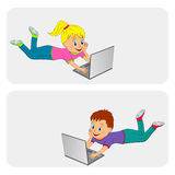 Boy and girl with laptop Royalty Free Stock Images