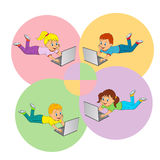 Boy and girl with laptop Royalty Free Stock Photography