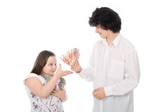 Boy and girl with large sum of money Stock Photos