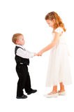 Boy and girl learning to dance Stock Image