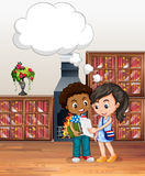 Boy and girl in the library Royalty Free Stock Photos