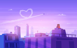 Boy and girl look over cityscape. Romantic day. Vector cute illustration. Stock Images