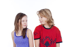 Boy and girl looking at each other Royalty Free Stock Photography
