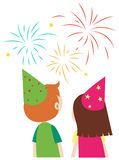 Boy and girl looking at fireworks. Illustration Royalty Free Stock Image