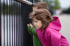 Boy and girl looking through a fence Royalty Free Stock Image