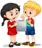 Boy and girl looking at the screen. Illustration Royalty Free Stock Image