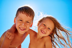 Boy and girl looks into the camera Royalty Free Stock Image
