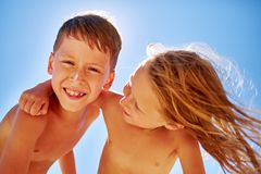Boy and girl looks into the camera Stock Photography