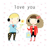 Boy and girl in love Royalty Free Stock Images