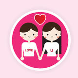 Boy and girl love flat icon Vector Royalty Free Stock Images