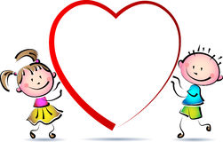 Boy and girl with love heart. Cute cartoon image on isolated white background Stock Image