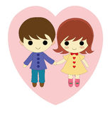 Boy and girl in love stock illustration