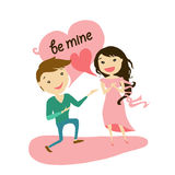 Boy and girl in love. Proposal. Be mine. Love letter Royalty Free Stock Photography
