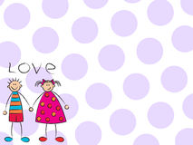 Boy + Girl = Love (purple) Stock Photography