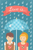 Boy and girl in love under checkered umbrella in the rain Stock Images