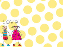 Boy + girl = love (yellow). Illustrated background suitable for all types of usage Royalty Free Stock Image