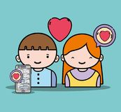 Boy and girl lover with chat message Royalty Free Stock Photo