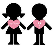 Boy and girl with lovers in hearts Stock Images