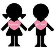 Boy and girl with lovers in hearts Stock Photography