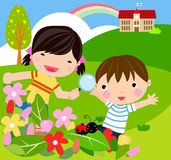 Boy and girl with magnifying glass with lady bug. Illustration Royalty Free Stock Image