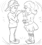 Boy and girl Make friends, make friends - Line-art. Coloring pag. E. Illustration for children Stock Photos