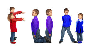 Boy and girl making word FUN, collage Royalty Free Stock Images
