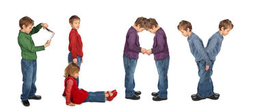 Boy and girl making word PLAY, collage Stock Images