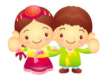 Boy and Girl Mascot the hand best gesture. Korea Traditional Cul Royalty Free Stock Photo