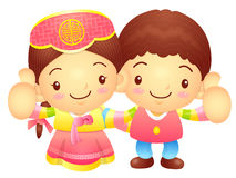 Boy and Girl Mascot the hand best gesture. Korea Traditional Cul Royalty Free Stock Images