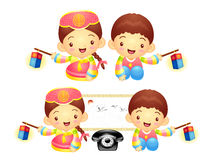 The Boy and Girl Mascot is holding a lantern Building. Korea Tra Stock Photo