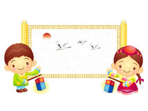 The Boy and Girl Mascot is holding a lantern Building. Korea Tra Royalty Free Stock Images