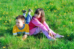 boy and girl in meadow royalty free stock image