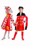 Boy and girl in medieval carnival costume Royalty Free Stock Photos